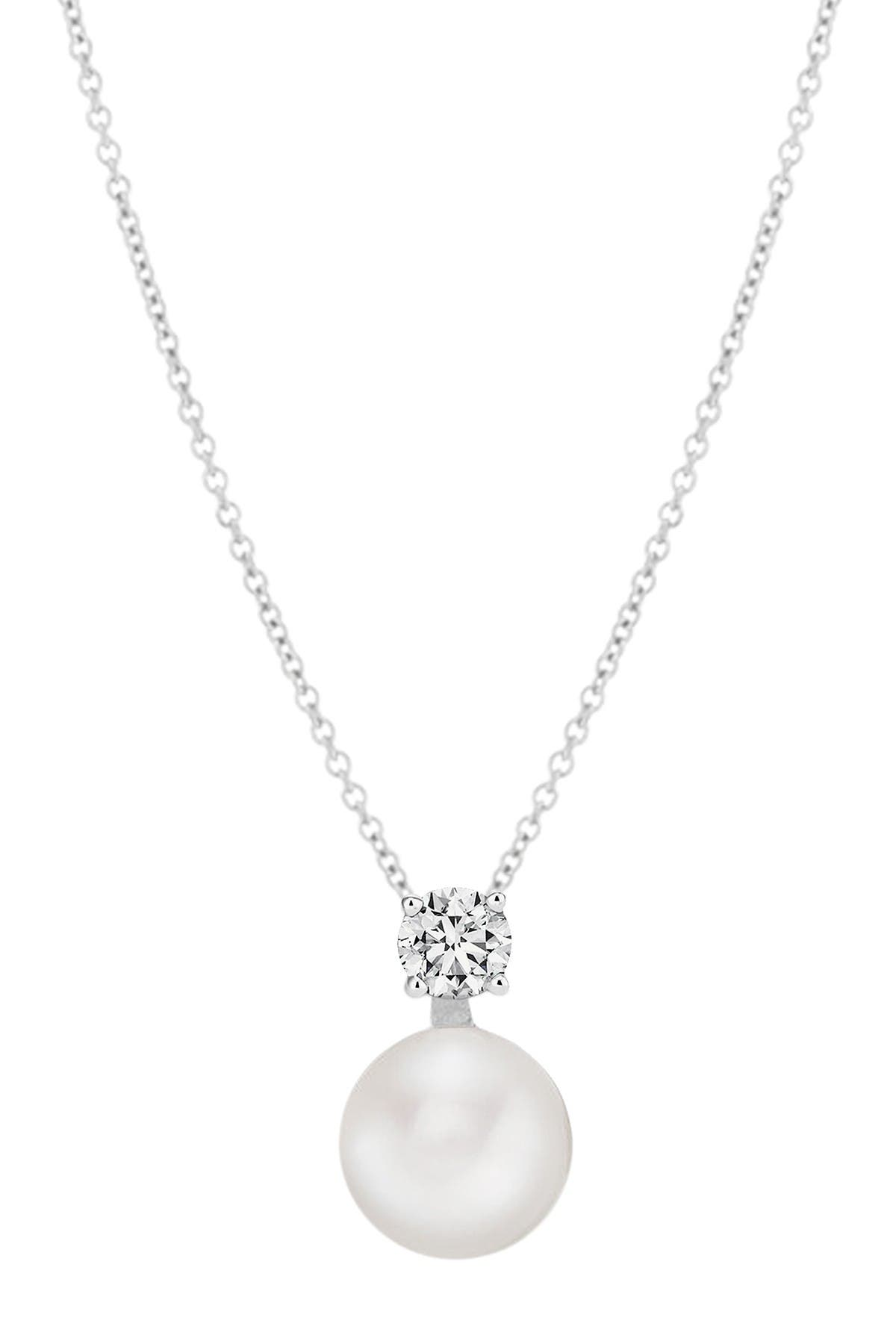 Image of Savvy Cie Sterling Silver Cubic Zirconia Button 9-10mm Pearl Drop Pendant