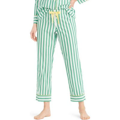 J.crew Cropped Lightweight Stripe Cotton Pajama Pants, Green