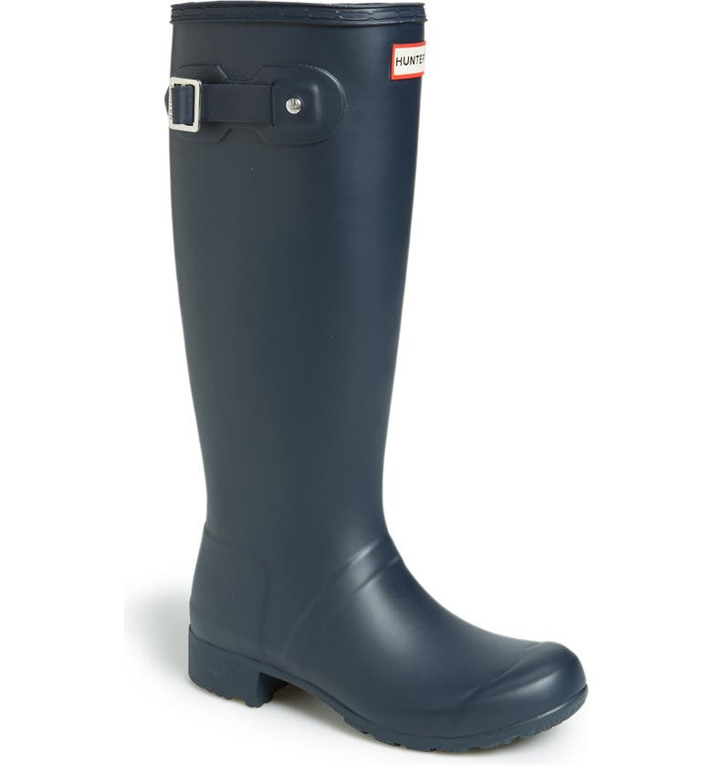 HUNTER Tour Packable Waterproof Rain Boot, Main, color, NAVY/ NAVY