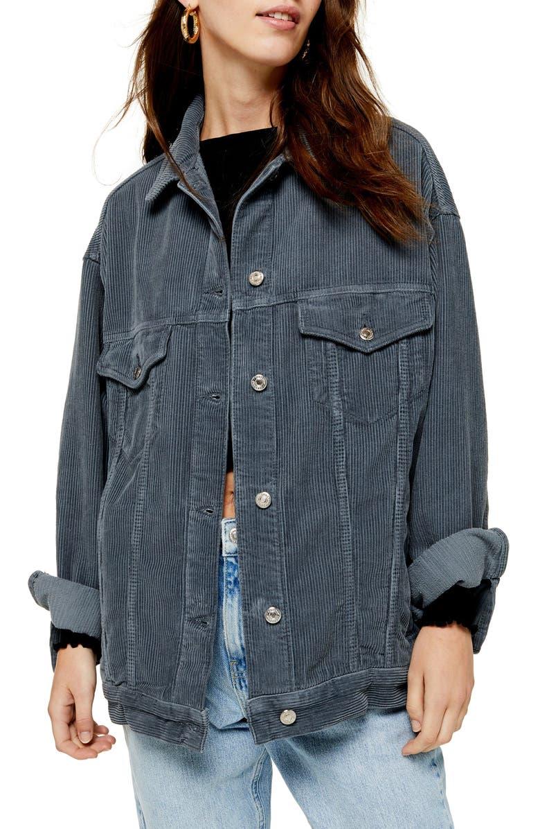 TOPSHOP Dad Oversize Corduroy Jacket, Main, color, BLUE