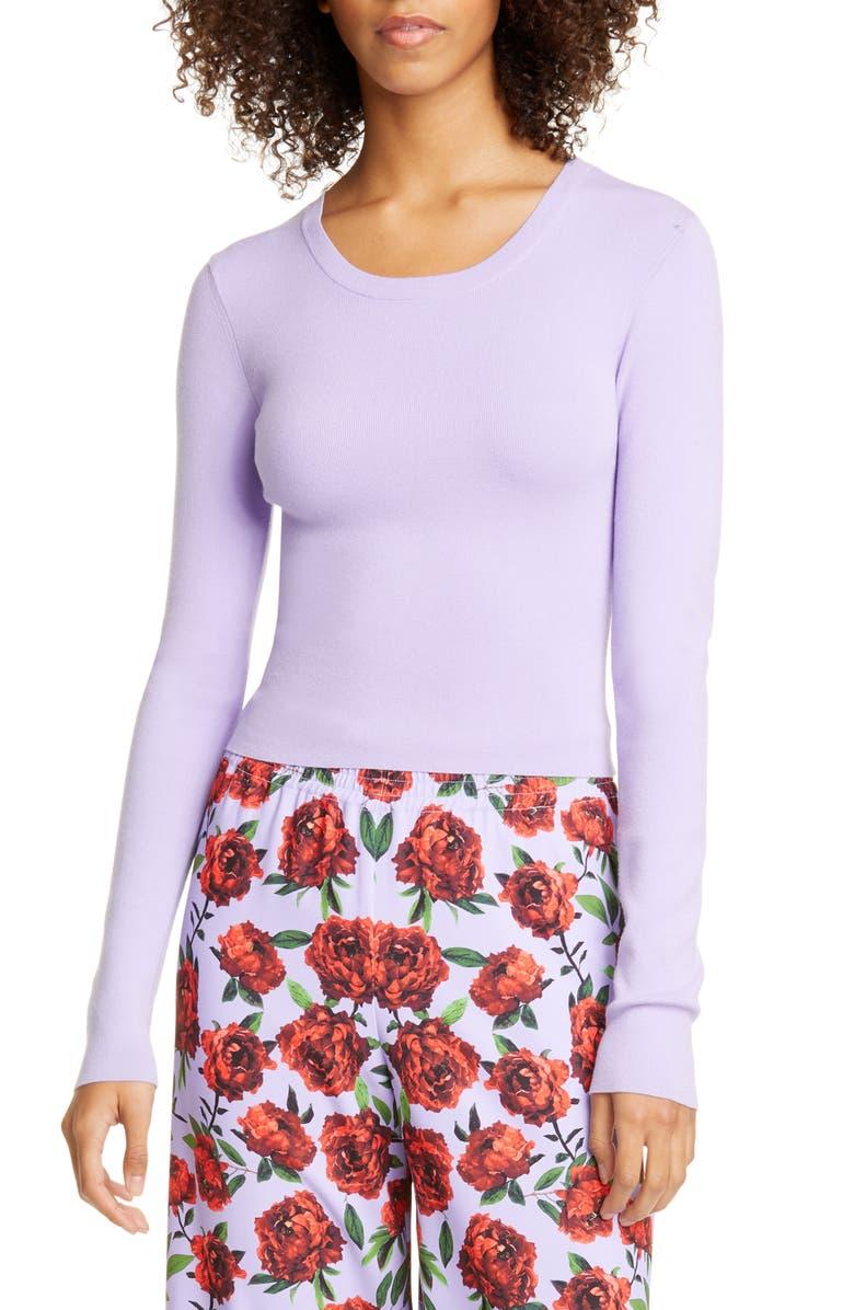 ALICE + OLIVIA Ciara Ribbed Crop Sweater, Main, color, LAVENDER