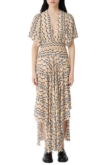 Maje Dresses PRINTED PLUNGE NECK MAXI DRESS