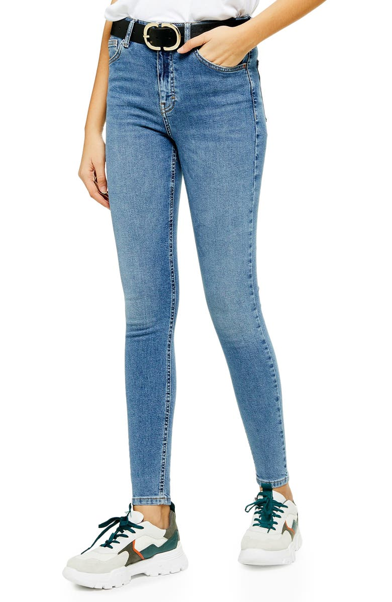 TOPSHOP Jamie High Waist Ankle Jeans, Main, color, DENIM