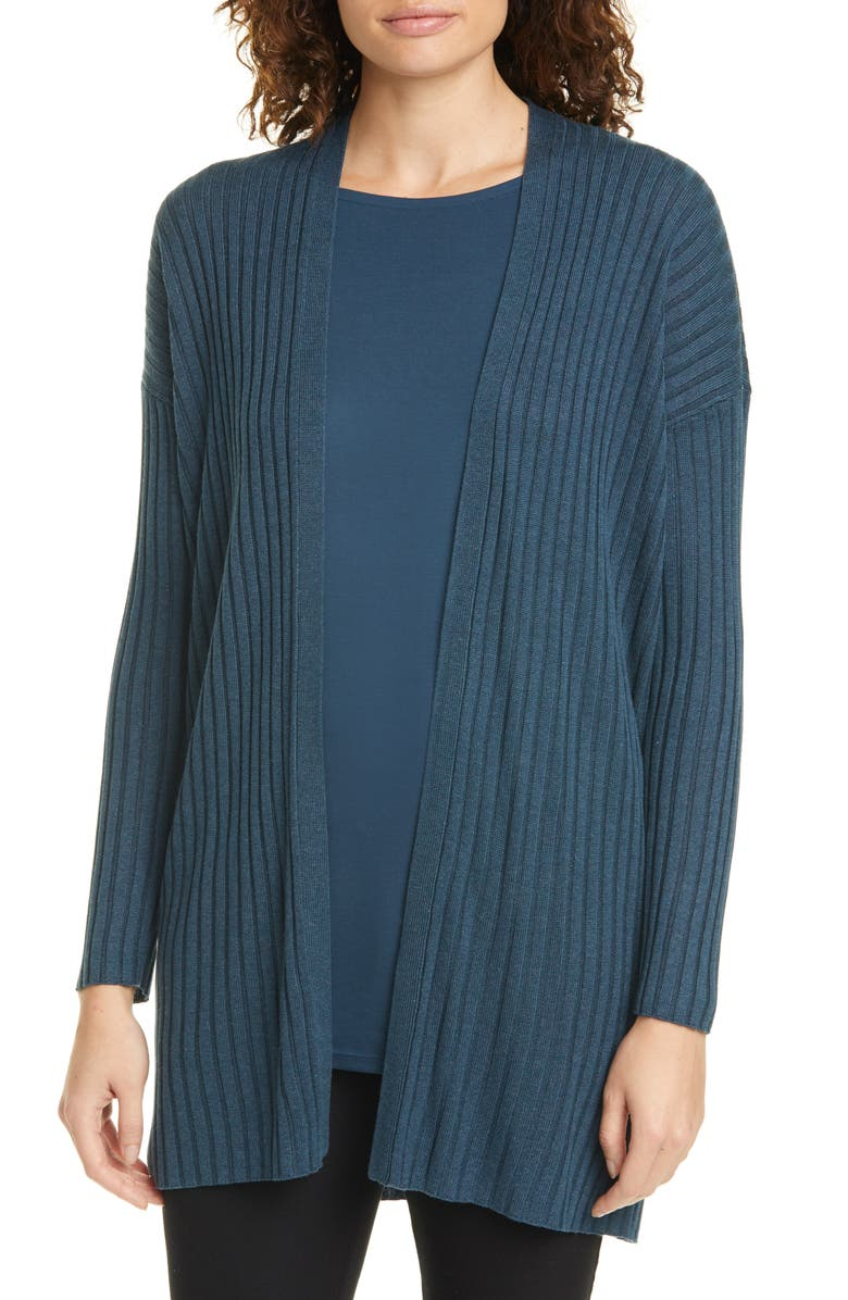 EILEEN FISHER Long Ribbed Cardigan, Main, color, STORM