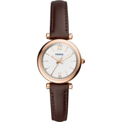 Fossil Carlie Leather Strap Watch, 2m