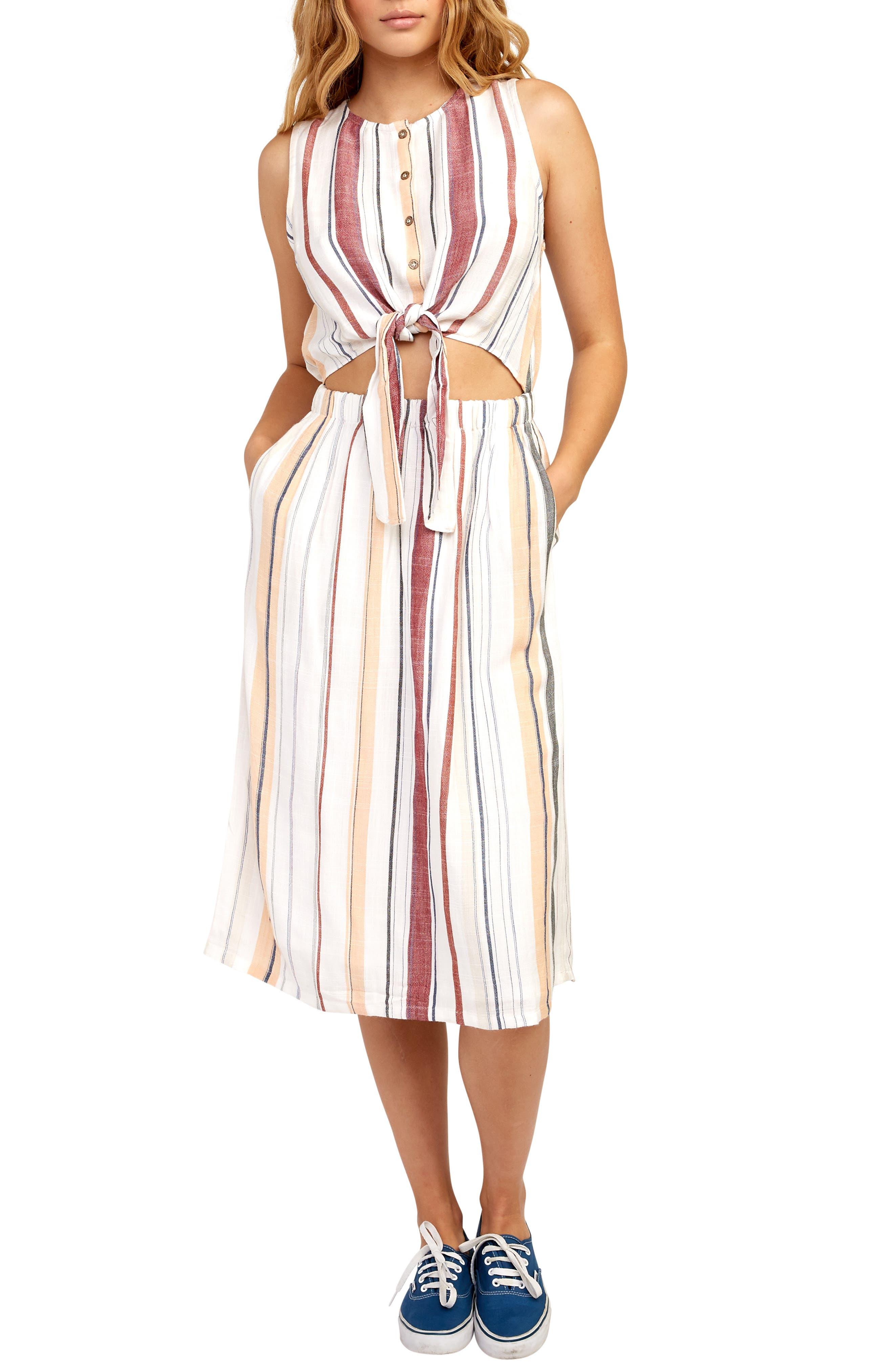 Rvca Arizona Cutout Waist Midi Dress, White