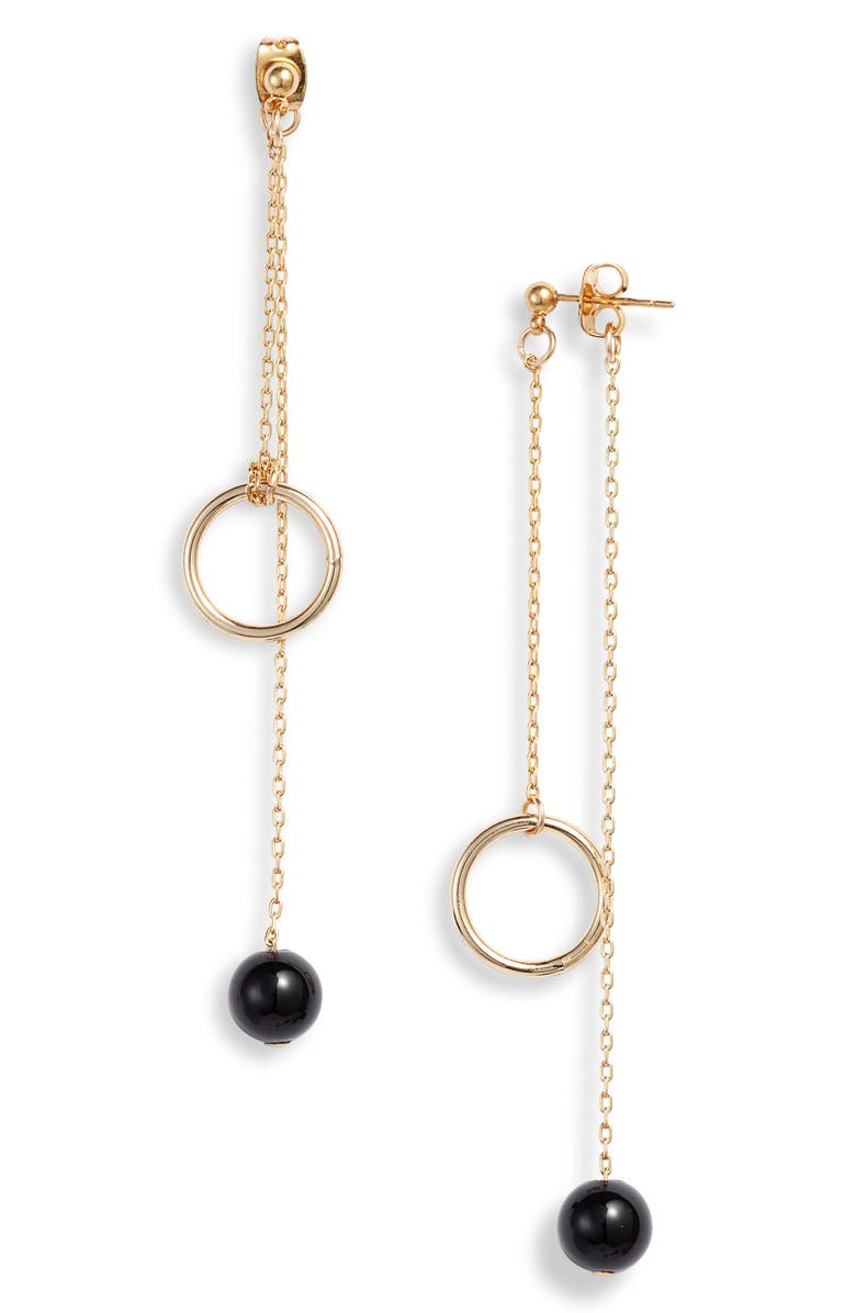 KNOTTY Front/Back Drop Earrings, Main, color, GOLD/ BLACK ONYX