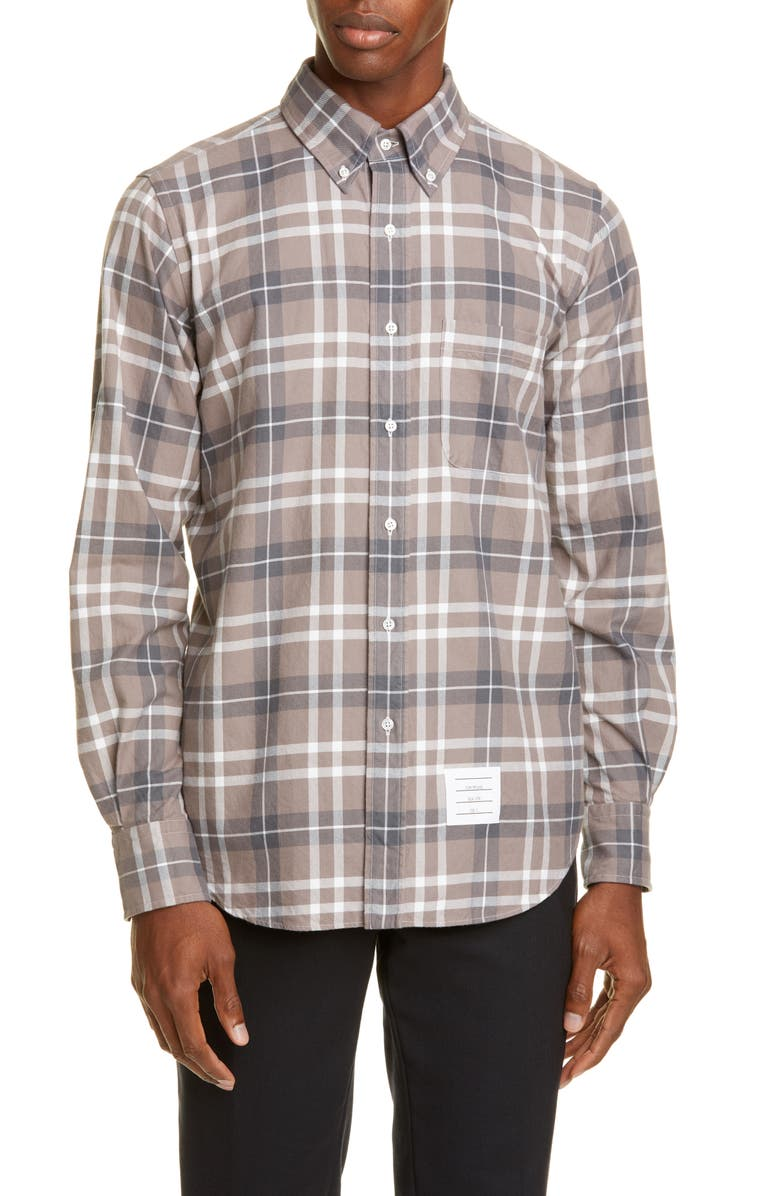 THOM BROWNE Plaid Button-Down Flannel Shirt, Main, color, LIGHT GREY