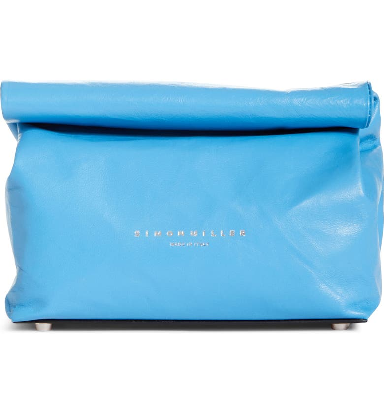 SIMON MILLER Lunchbag Leather Roll Top Clutch, Main, color, BLUE JEAN