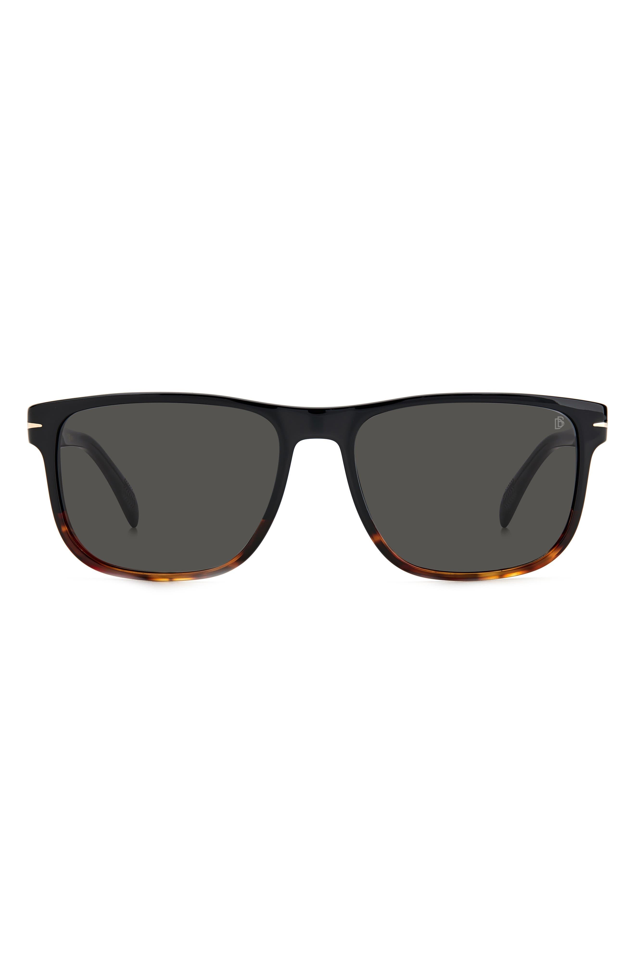 57mm Polarized Rectangular Sunglasses