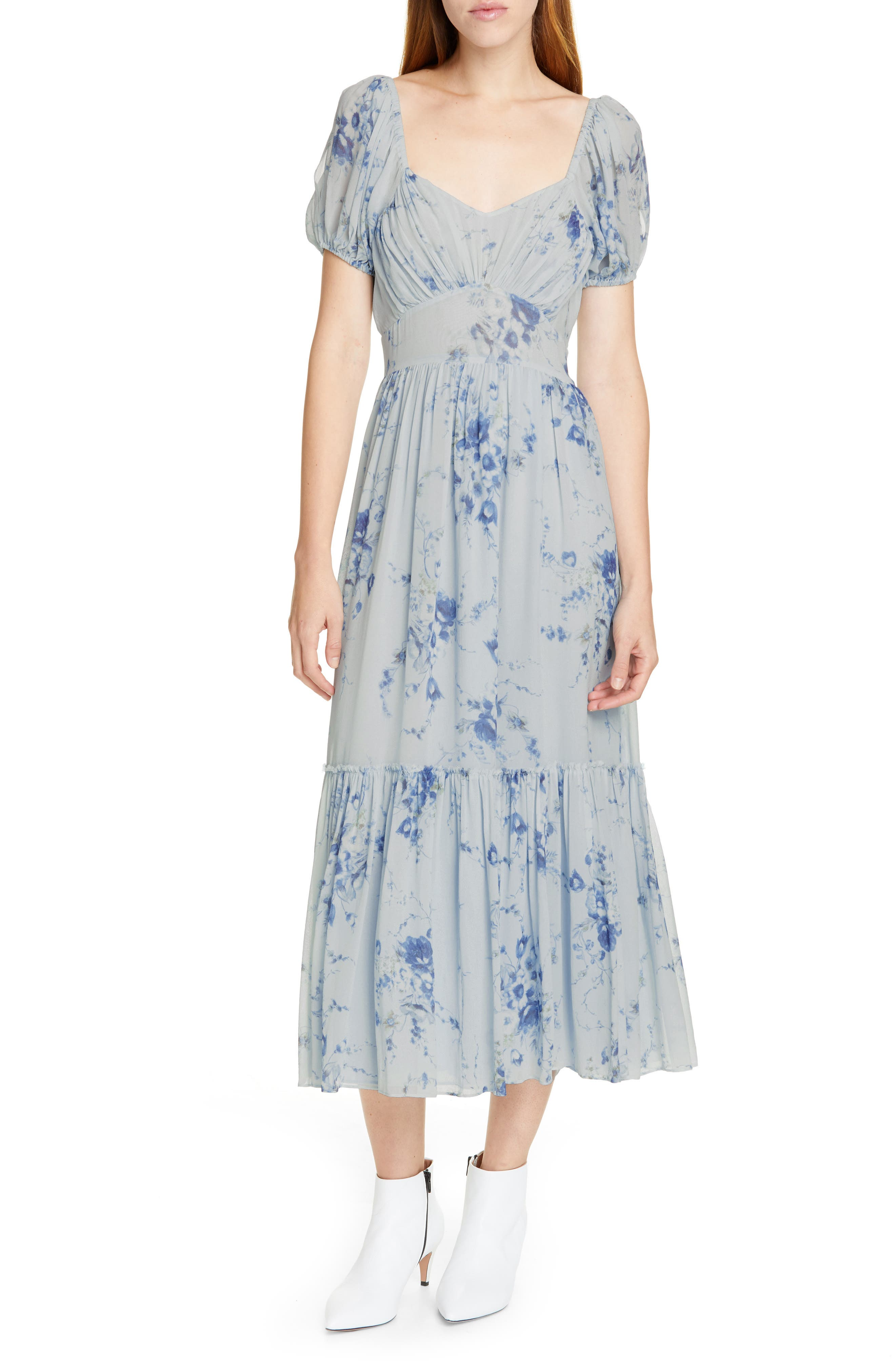 Loveshackfancy Angie Floral Maxi Dress, Blue