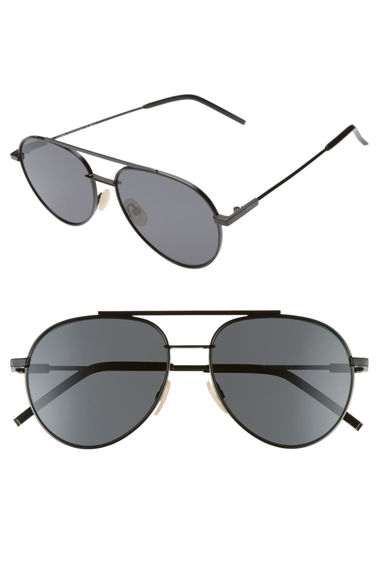 FENDI 56mm Aviator Sunglasses, Main, color, 001