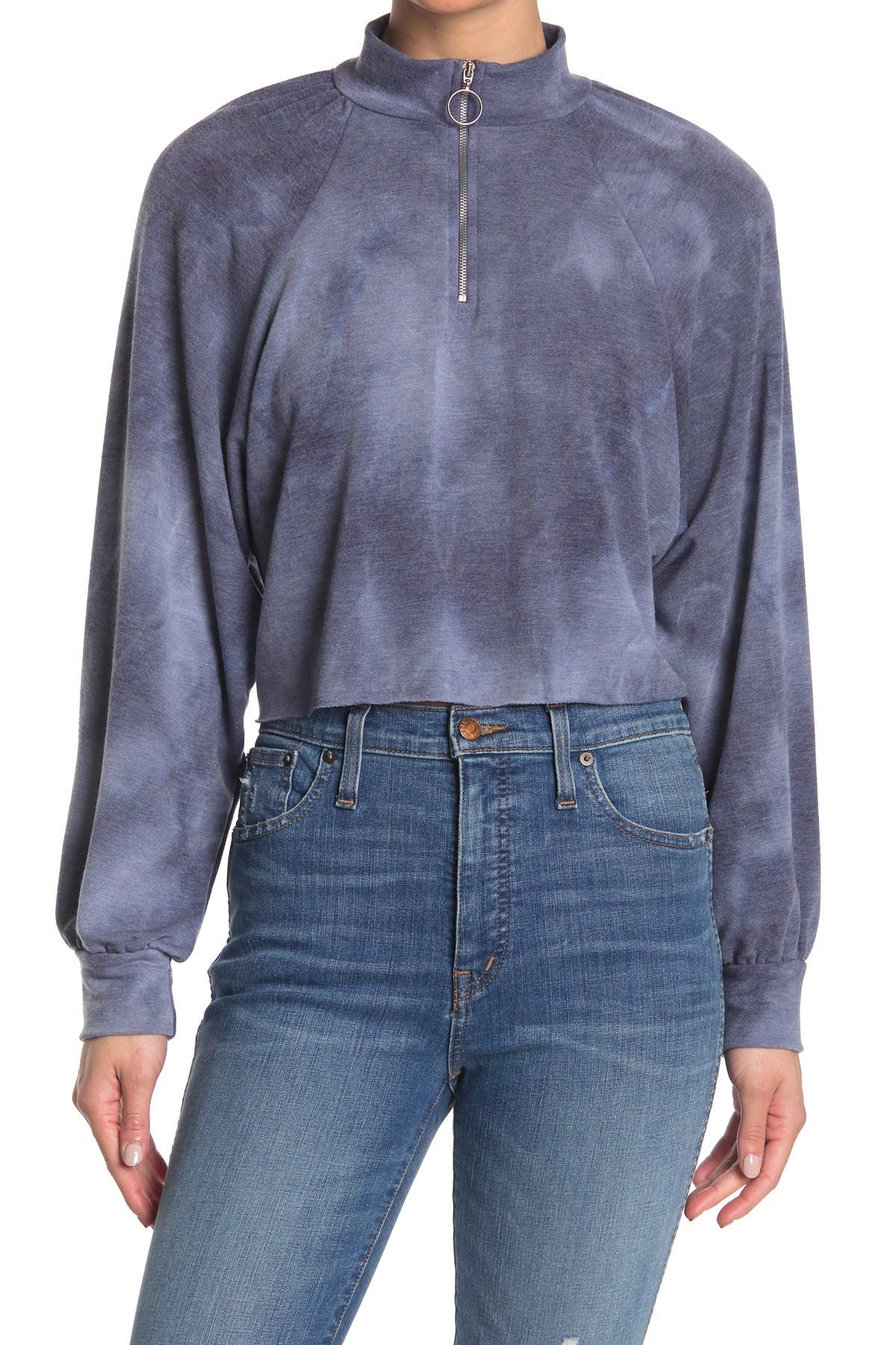 Image of Abound Tie Dye Raglan Half Zip Crop Pullover