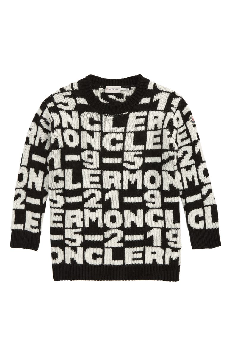 MONCLER Logo Sweater Dress, Main, color, BLACK