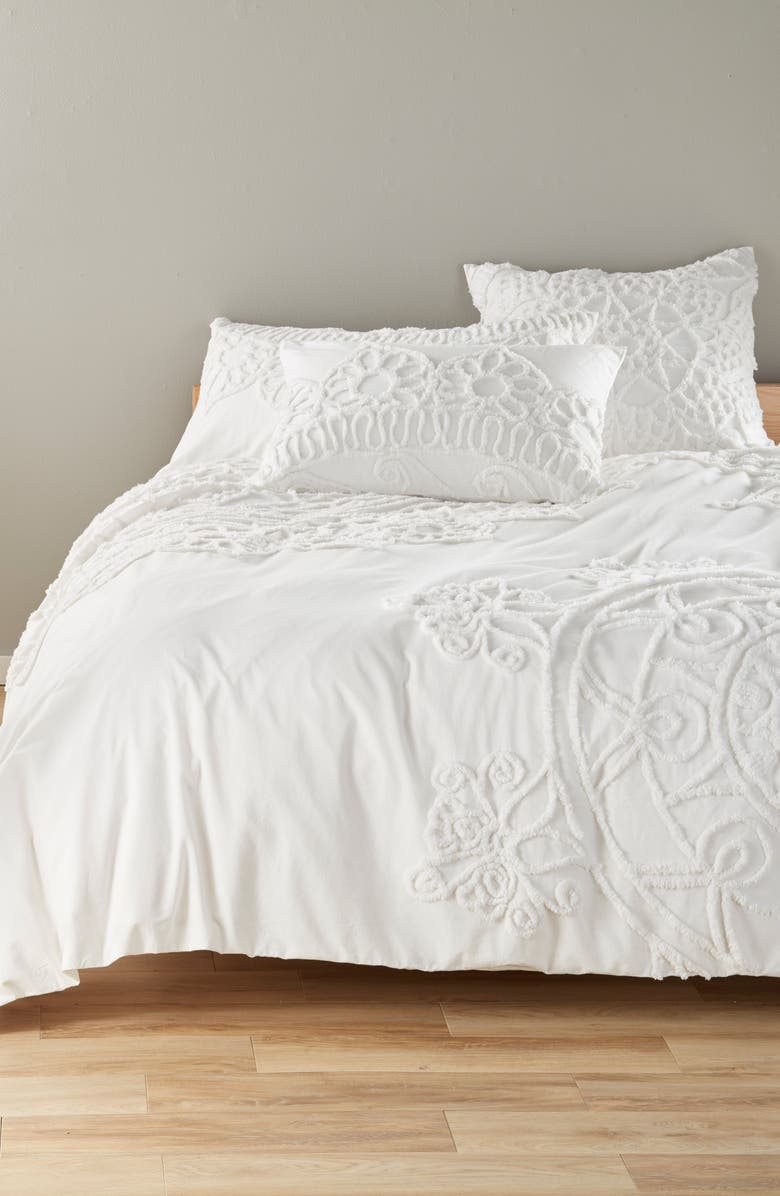 NORDSTROM AT HOME Tufted Duvet Cover, Main, color, WHITE