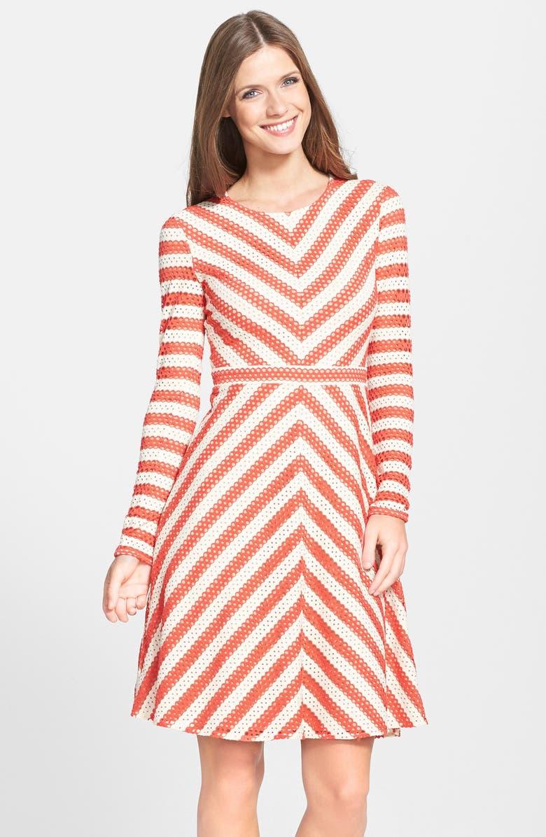 BCBGMAXAZRIA 'Kristina' Stripe Eyelet Fit & Flare Dress, Main, color, POPPY