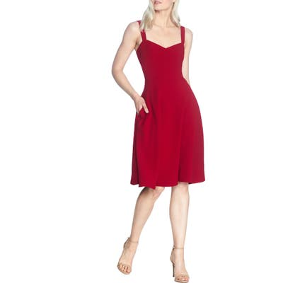 Dress The Population Alina Crepe Fit & Flare Cocktail Dress, Red