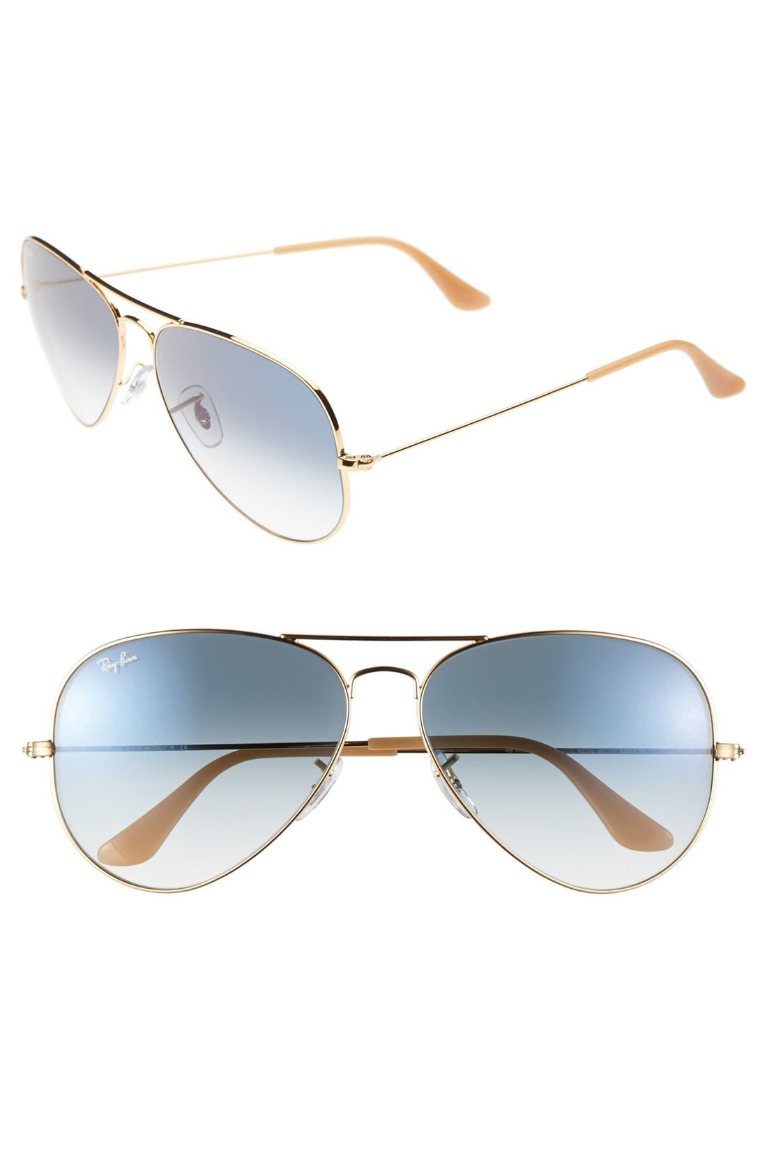 Large Original 62mm Aviator Sunglasses, Main, color, BLUE GRADIENT