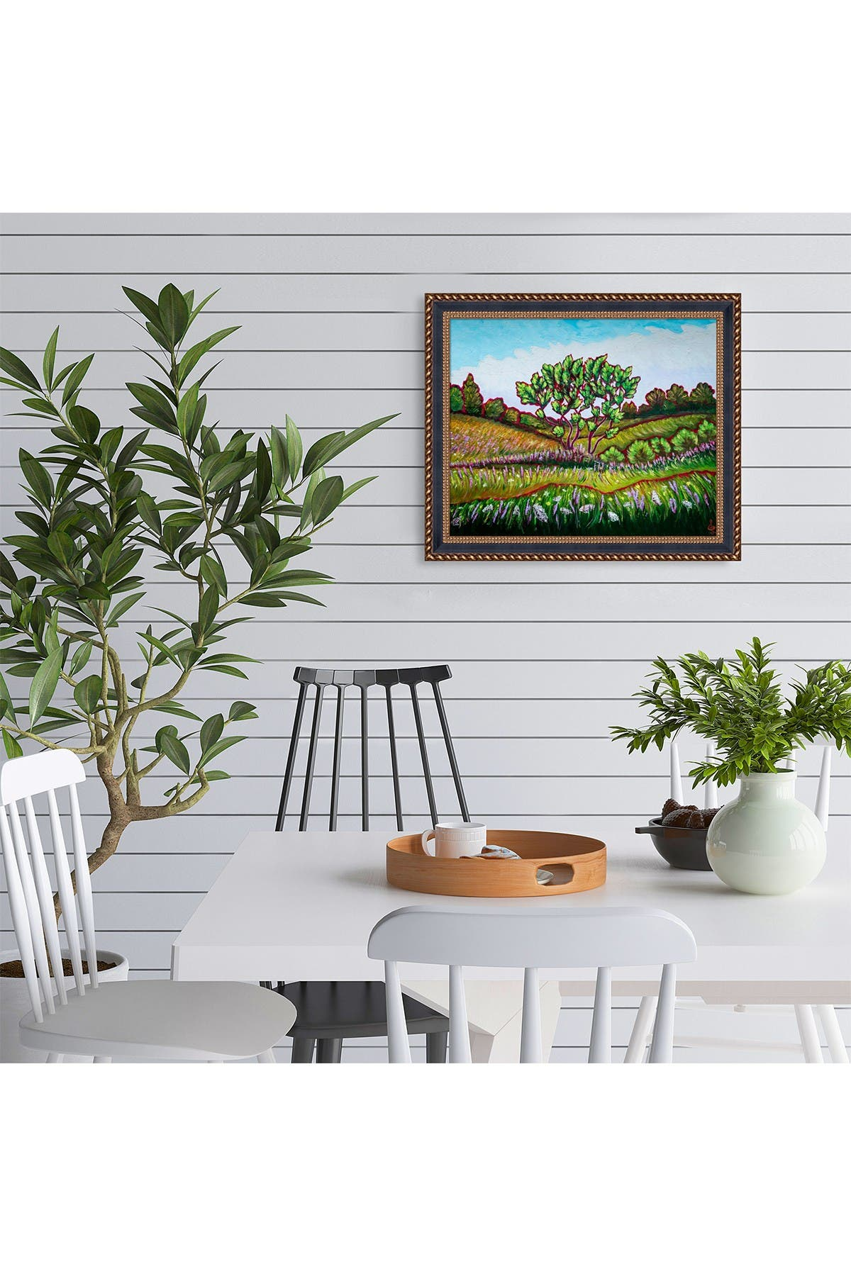 """Image of Overstock Art Summer Meadow with Verona Black and Gold Braid Frame - 24.75"""" x 28.75"""""""