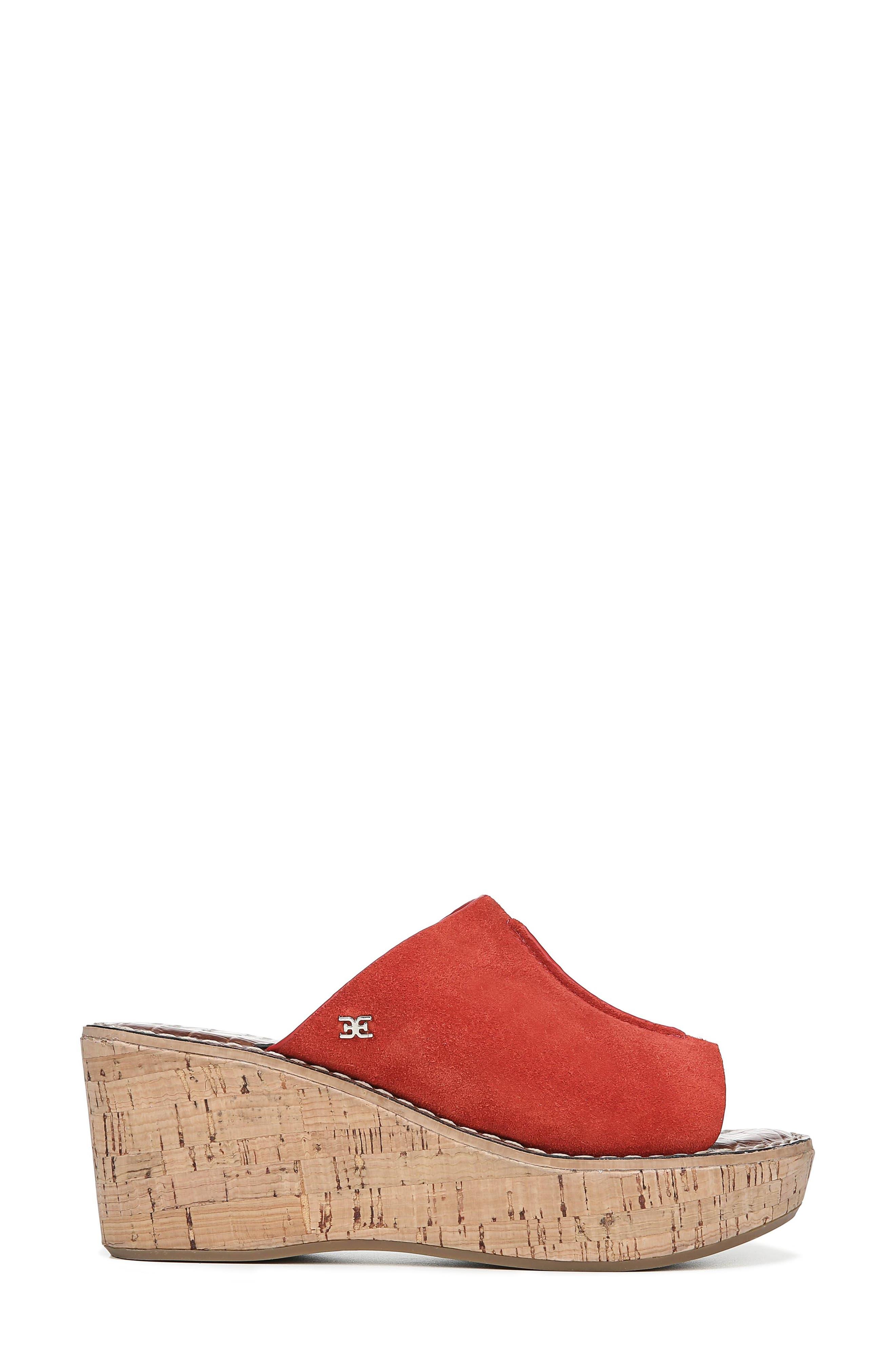 ,                             Ranger Platform Sandal,                             Alternate thumbnail 3, color,                             CANDY RED SUEDE
