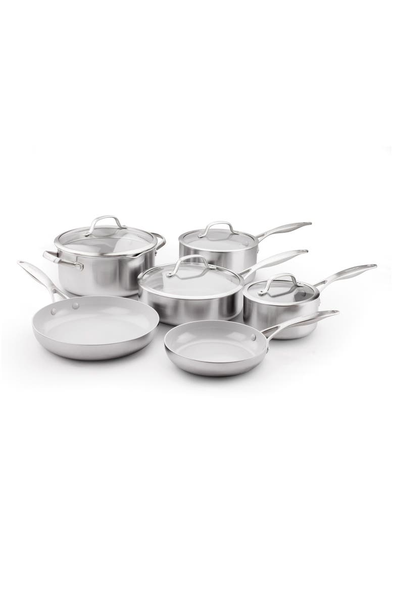 GREENPAN Venice Pro 10-Piece Multilayer Stainless Steel Ceramic Nonstick Cookware Set, Main, color, 040
