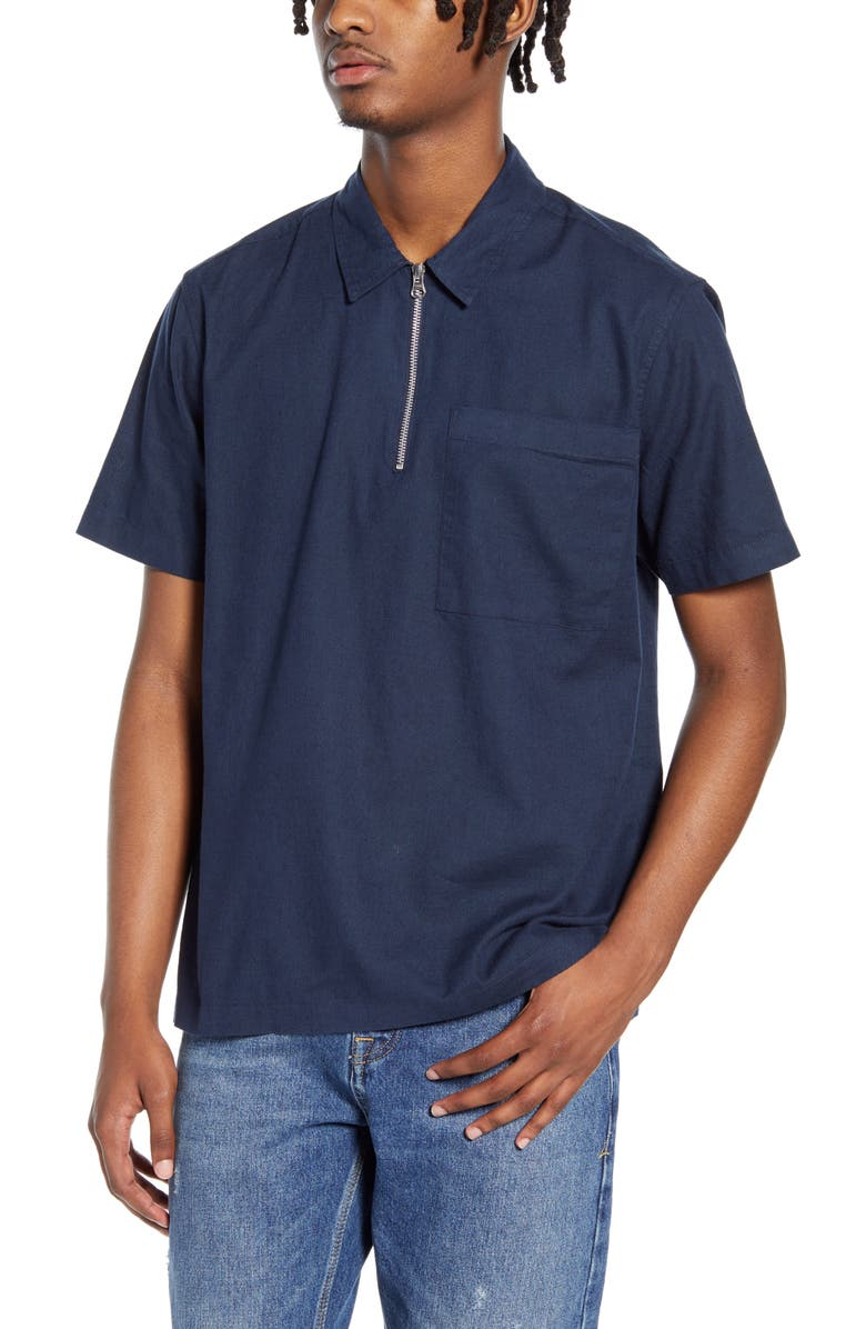 TOPMAN Classic Fit Short Sleeve Quarter Zip Popover Shirt, Main, color, 411