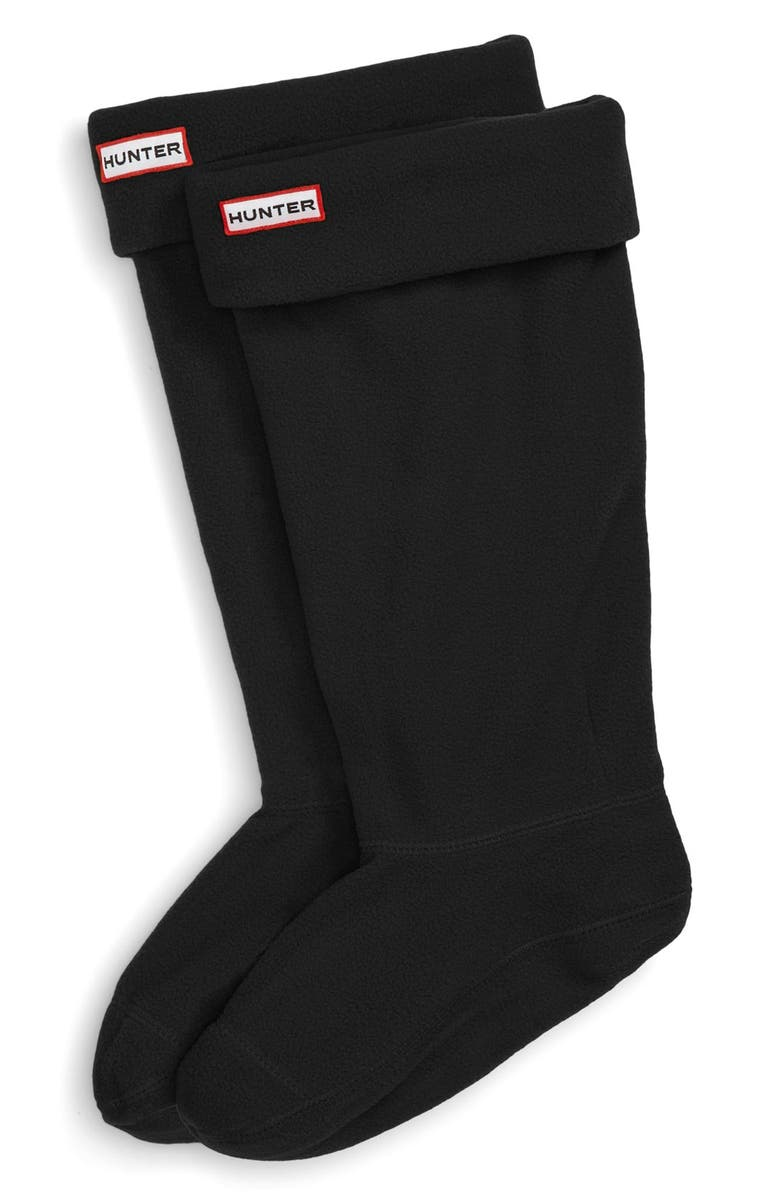 HUNTER Original Tall Fleece Welly Boot Socks, Main, color, BLACK FLEECE