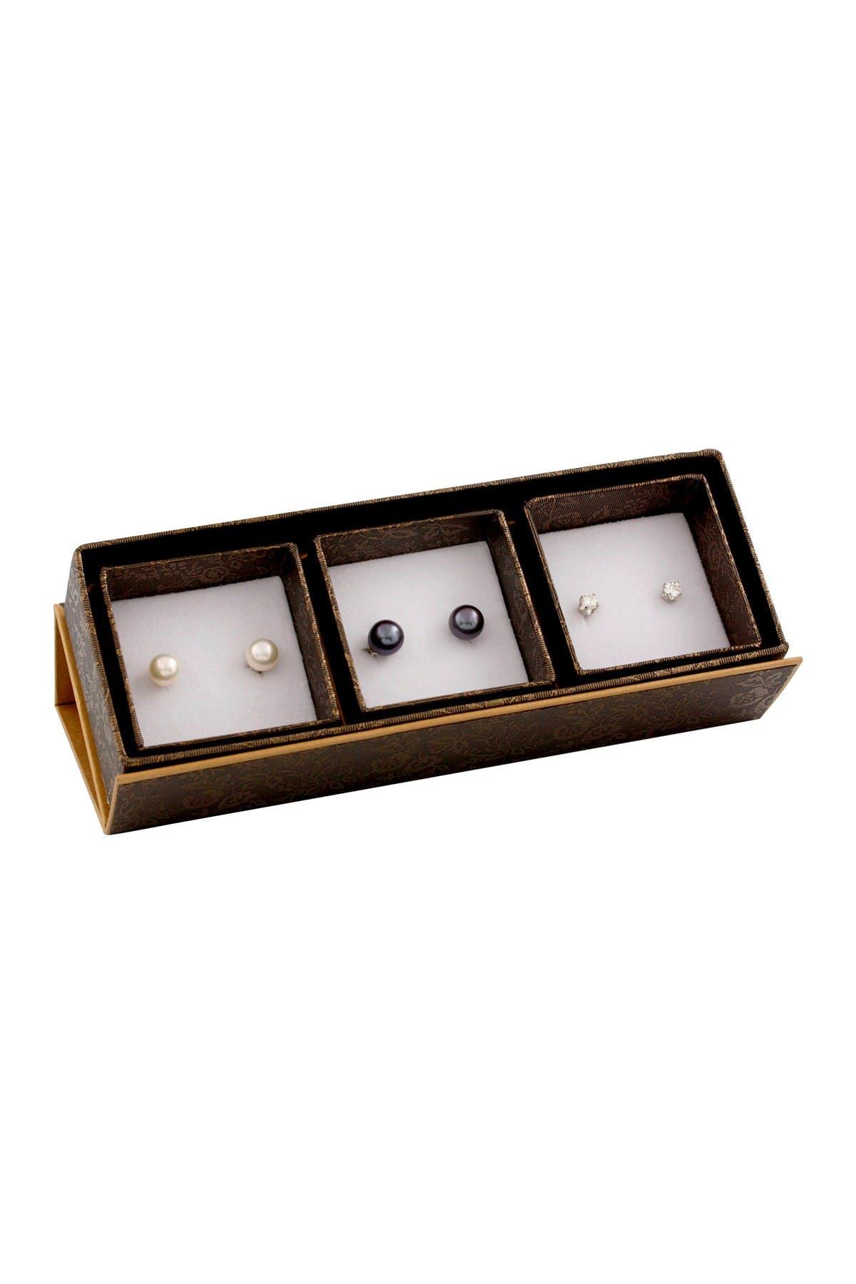 Image of Splendid Pearls 7-7.5mm Dyed Black & Natural White Cultured Freshwater Pearls Stud Earrings Set