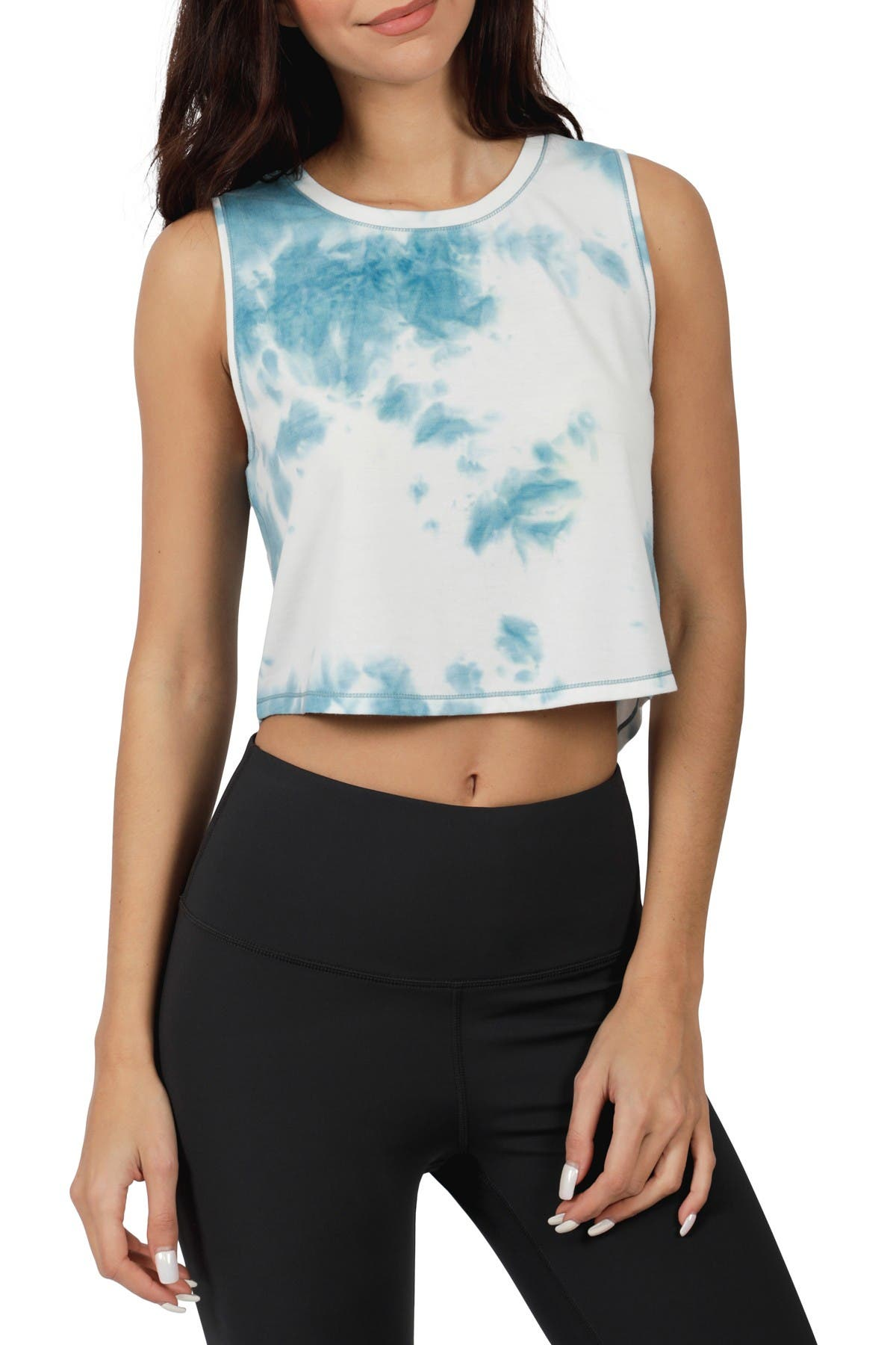Image of 90 Degree By Reflex Cropped Tie Dye Tank Top