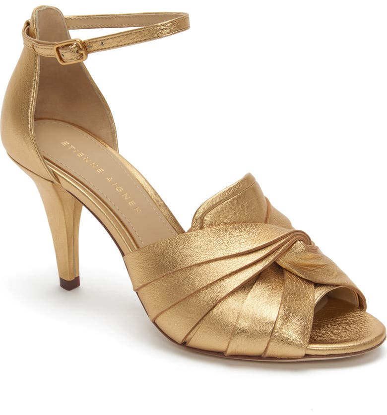 ETIENNE AIGNER Sahari Ankle Strap Sandal, Main, color, ORO LEATHER