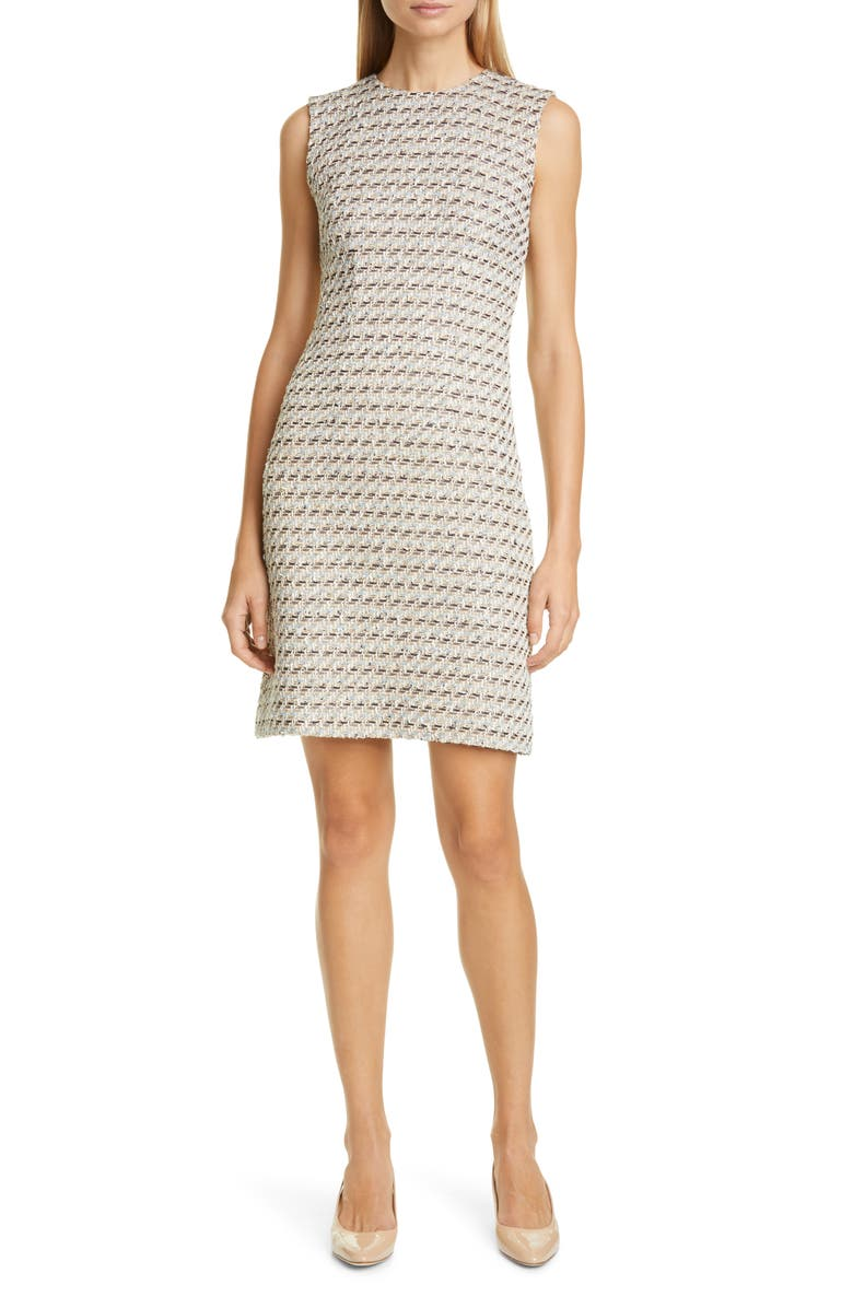 ADAM LIPPES Metallic Tweed Sheath Dress, Main, color, 900