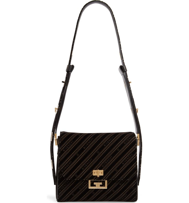 GIVENCHY Medium Eden Burnout Velvet Shoulder Bag, Main, color, BLACK