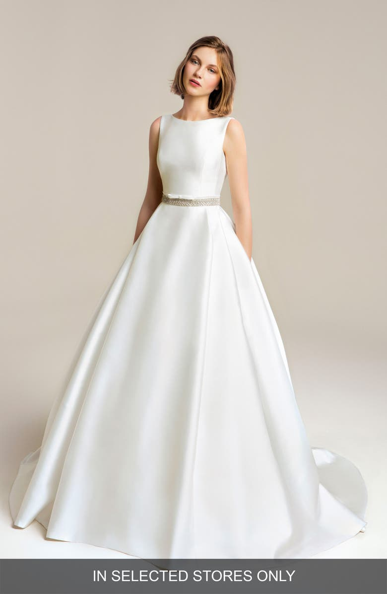 JESÚS PEIRÓ Satin Beaded Detail Wedding Dress, Main, color, OFF WHITE