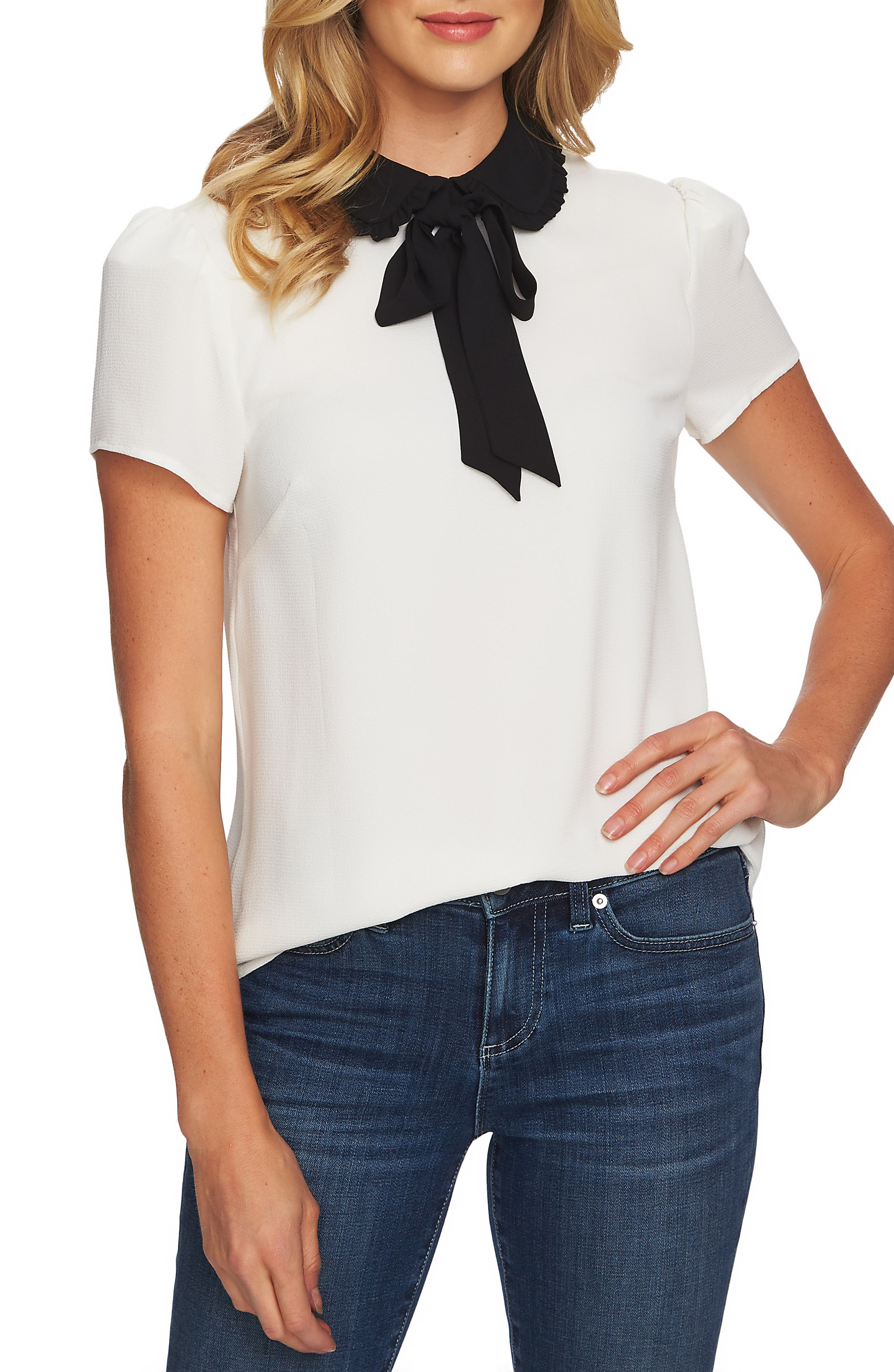 Vintage Tops & Retro Shirts, Halter Tops, Blouses Womens Cece Ruffle Collar Short Sleeve Blouse Size Large - White $79.00 AT vintagedancer.com