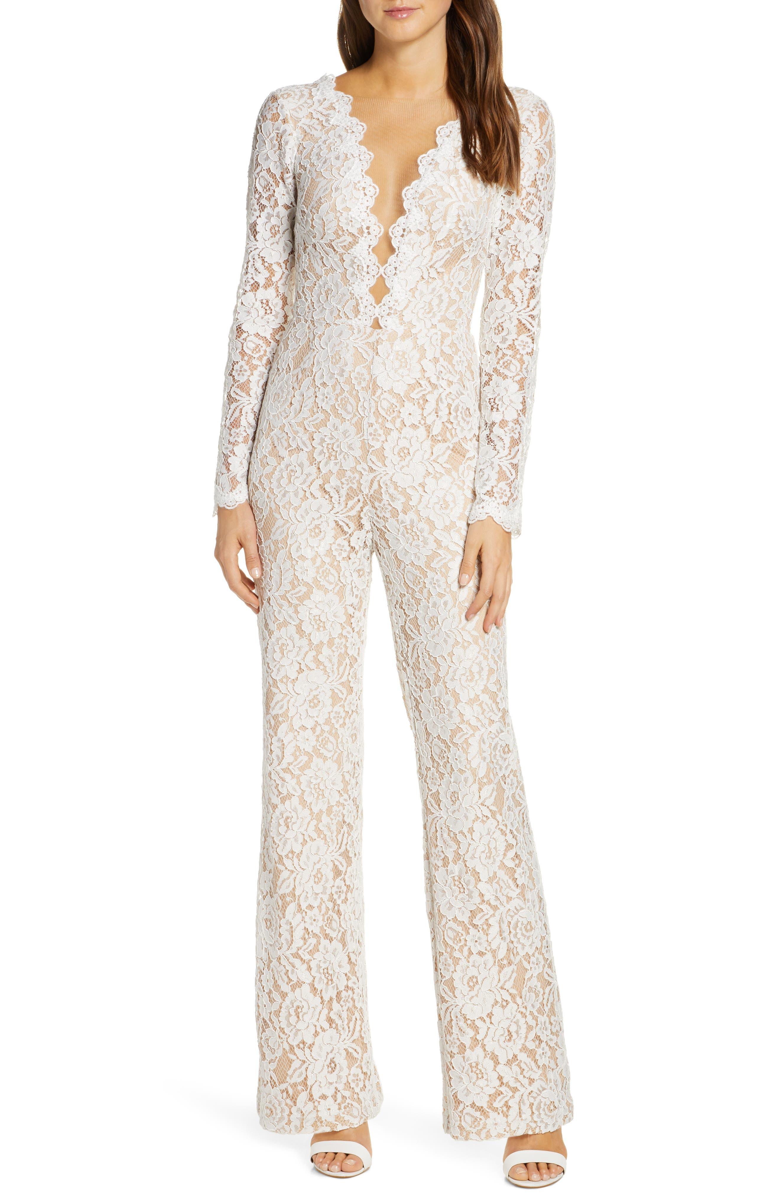 60s Wedding Dresses | 70s Wedding Dresses Womens Tadashi Shoji Long Sleeve Lace Wedding Jumpsuit $498.00 AT vintagedancer.com