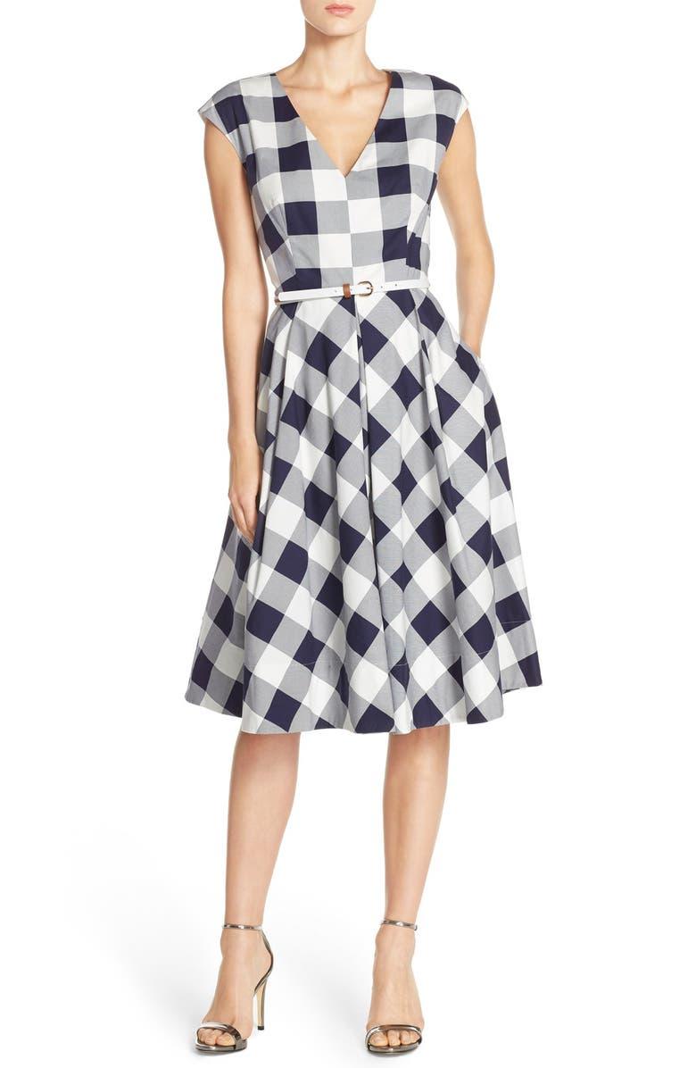 ELIZA J Gingham Stretch Cotton Fit & Flare Dress, Main, color, 410