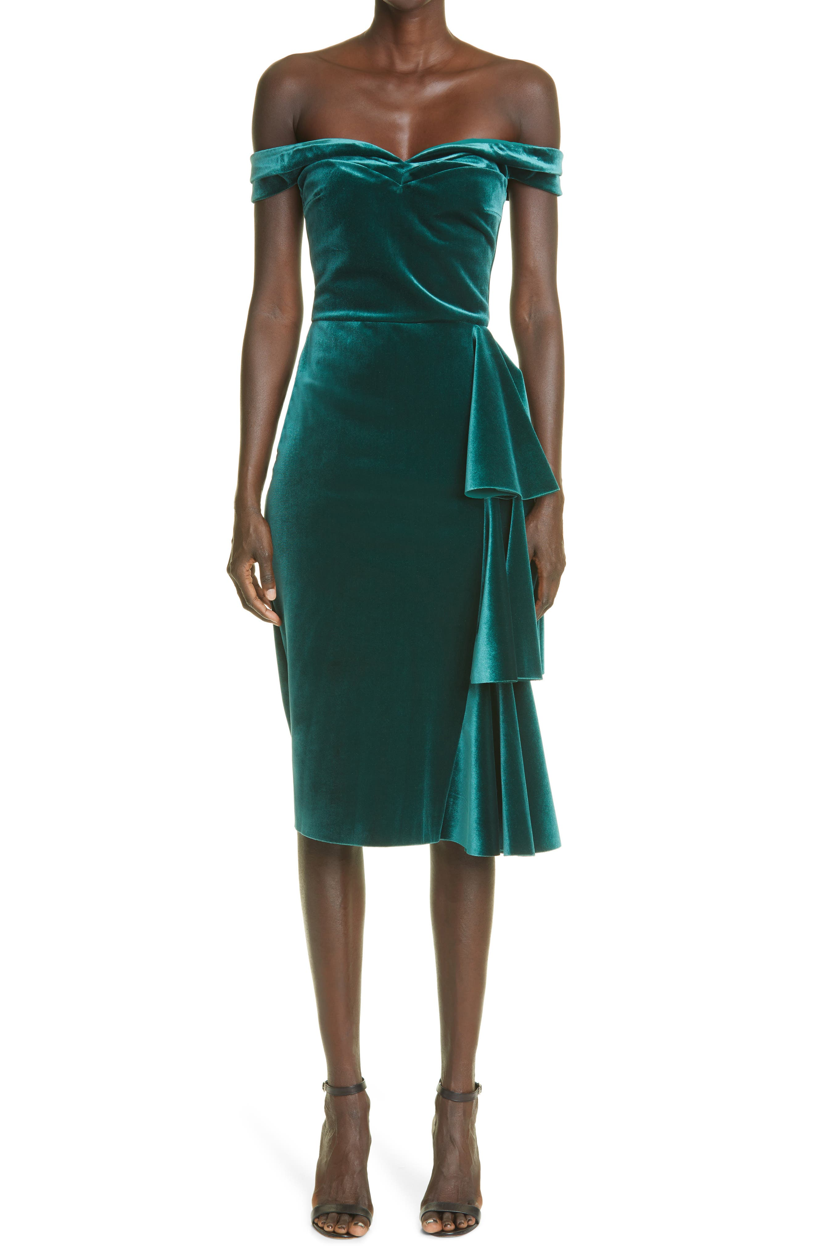 Willa Off The Shoulder Velvet Dress