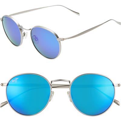 Maui Jim Nautilus 50Mm Polarizedplus2 Round Sunglasses - Titanium/ Blue Hawaii