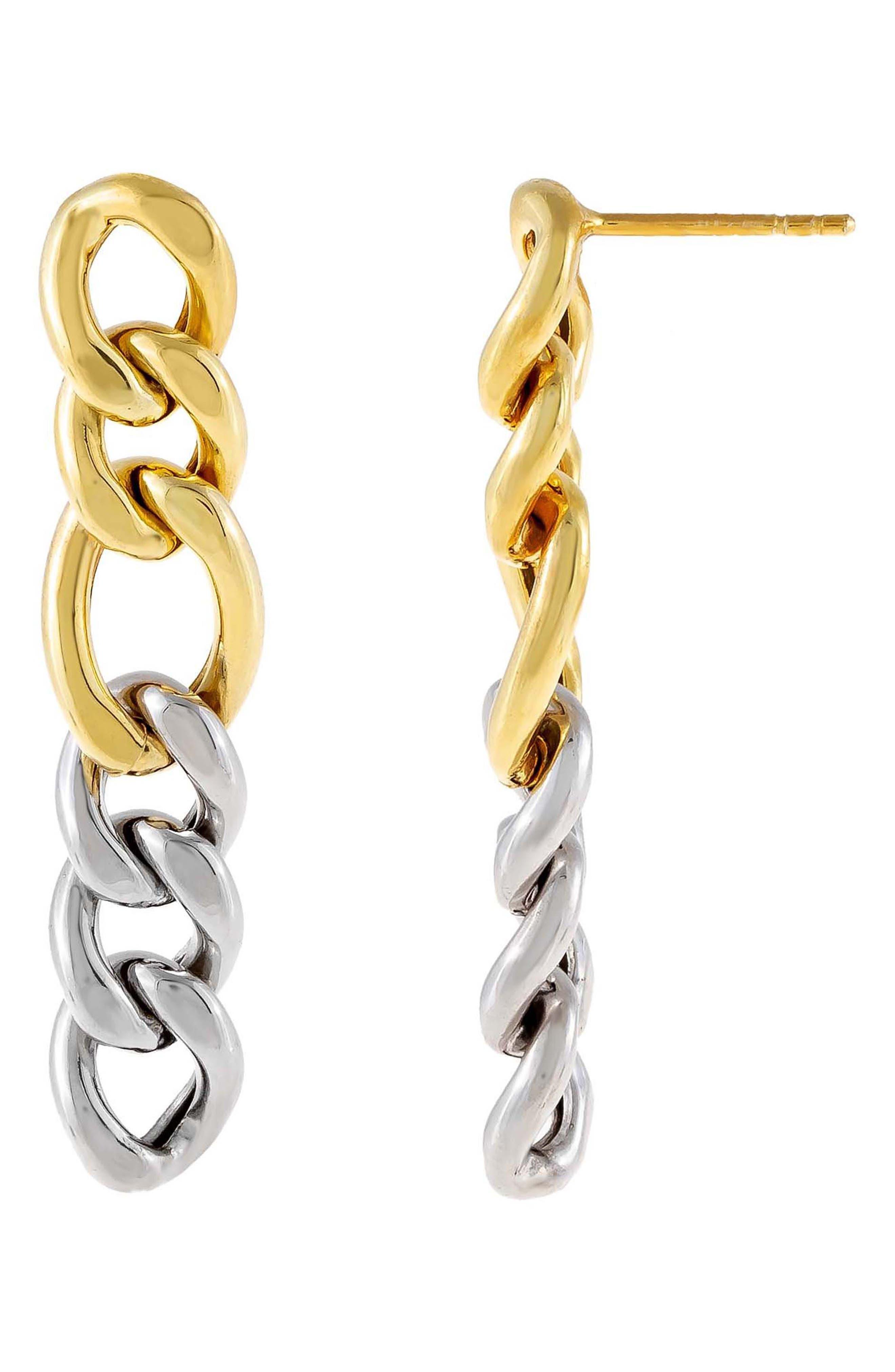 Women's Adina's Jewels Two-Tone Miami Curb Chain Drop Earrings