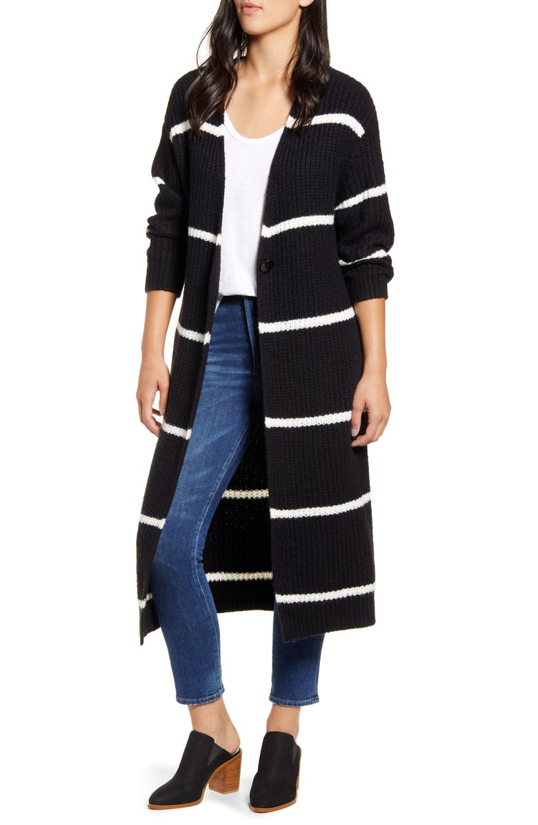 PRESS Stripe Oversize Shaker Stitch Long Cardigan, Main, color, BLACK SOLID CREAM