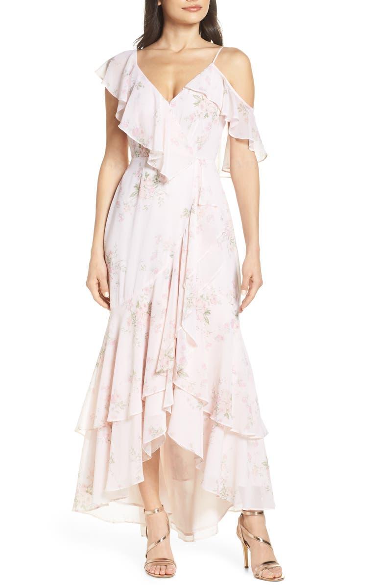 WAYF Elanor Ruffle Faux Wrap Maxi Dress, Main, color, BLUSH FLORAL