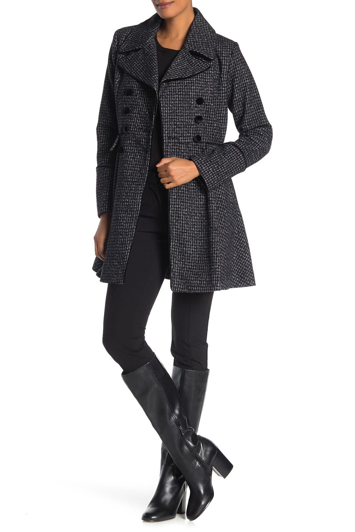 Image of GUESS Velvet-Trim Double-Breasted Skirted Houndstooth Coat