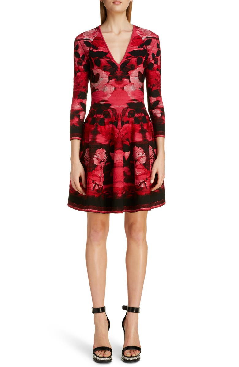 ALEXANDER MCQUEEN Rose Jacquard Fit & Flare Sweater Dress, Main, color, 600