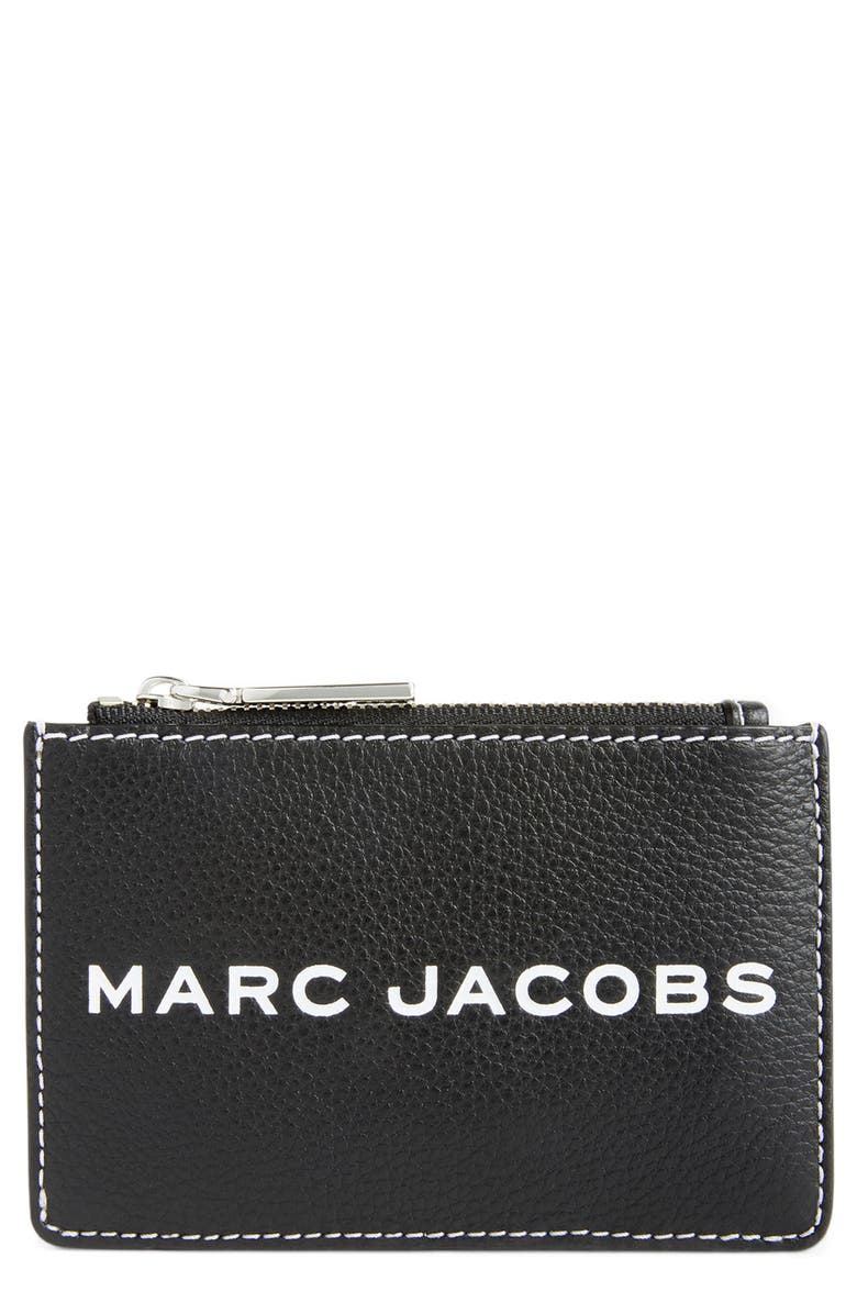 THE MARC JACOBS Faux Leather Zip Card Wallet, Main, color, 001