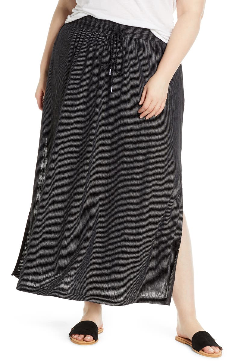 CASLON<SUP>®</SUP> Stripe Knit Maxi Skirt, Main, color, 001