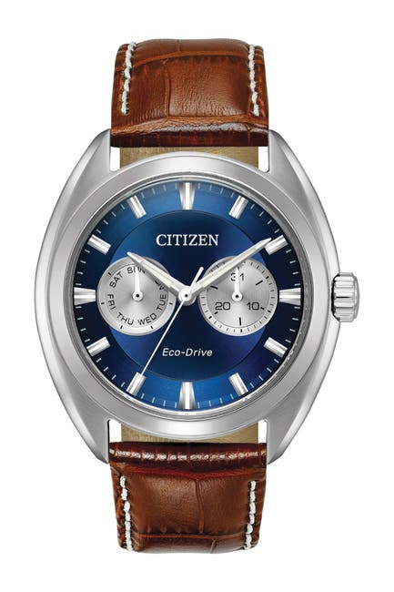 Image of Citizen Men's Paradex Eco-Drive Croc-Embossed Leather Strap Watch, 44mm