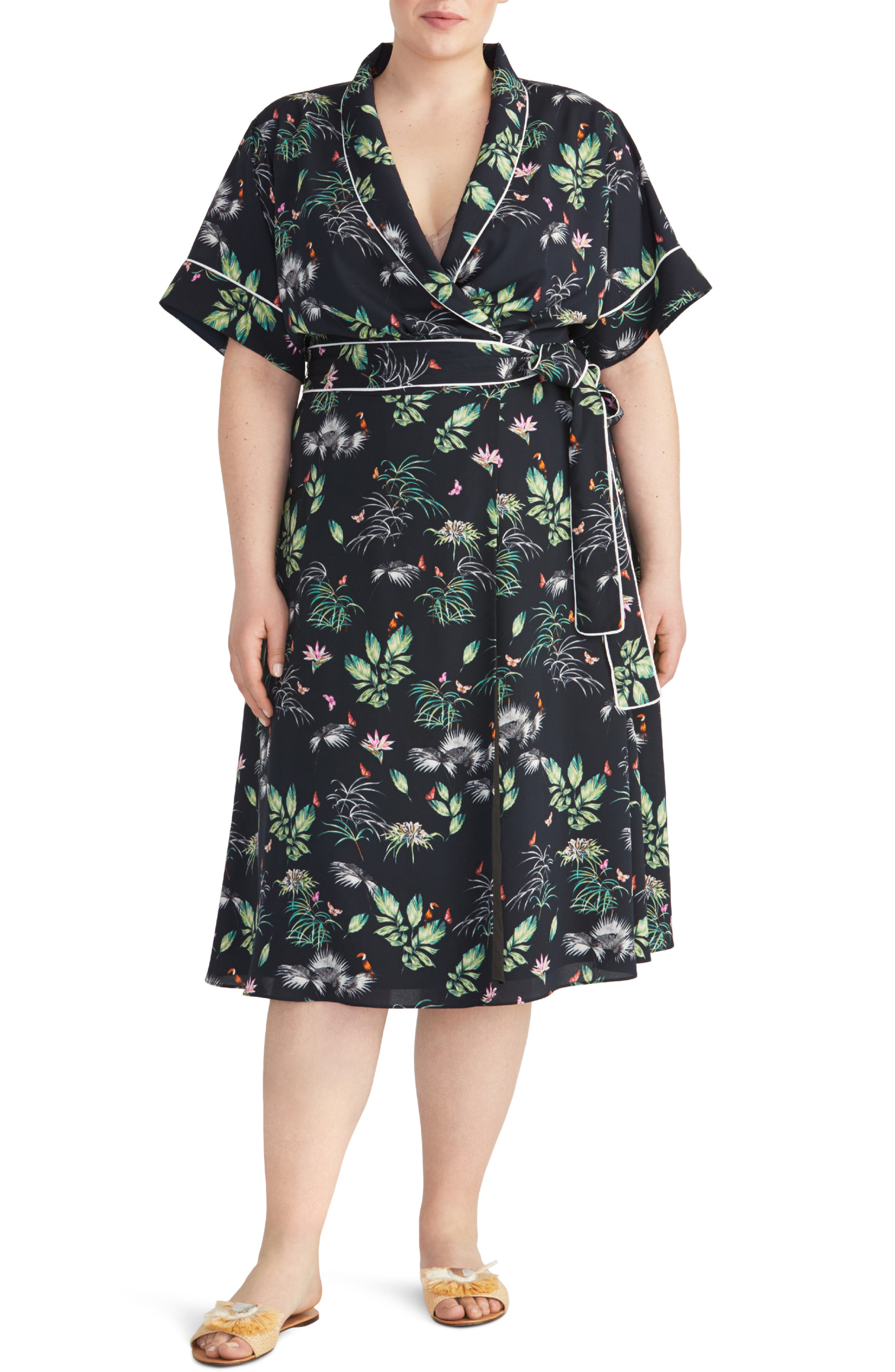 Indian Summers Inspired Clothing Plus Size Womens Rachel Roy Collection Floral Print Tipped Wrap Dress $95.40 AT vintagedancer.com