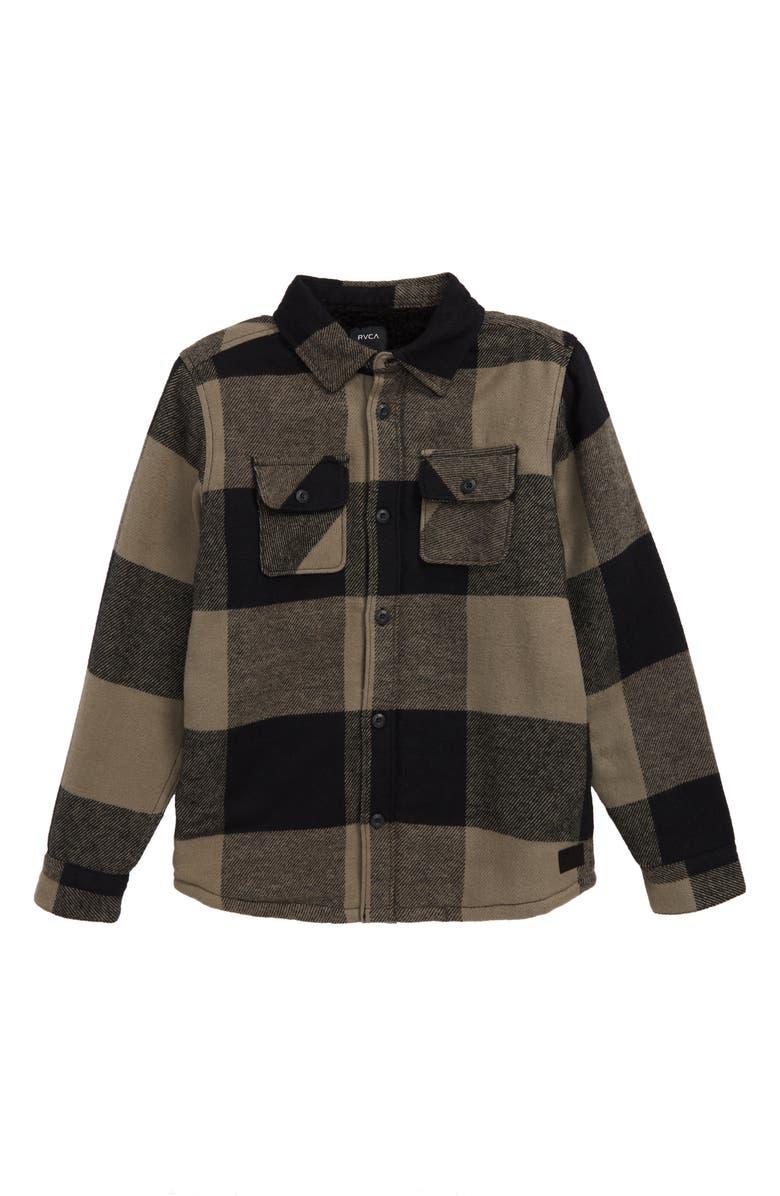 RVCA Haywire Buffalo Plaid Flannel Shirt Jacket, Main, color, GREEN