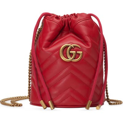 Gucci Mini Gg Marmont 2.0 Quilted Leather Bucket Bag - Red