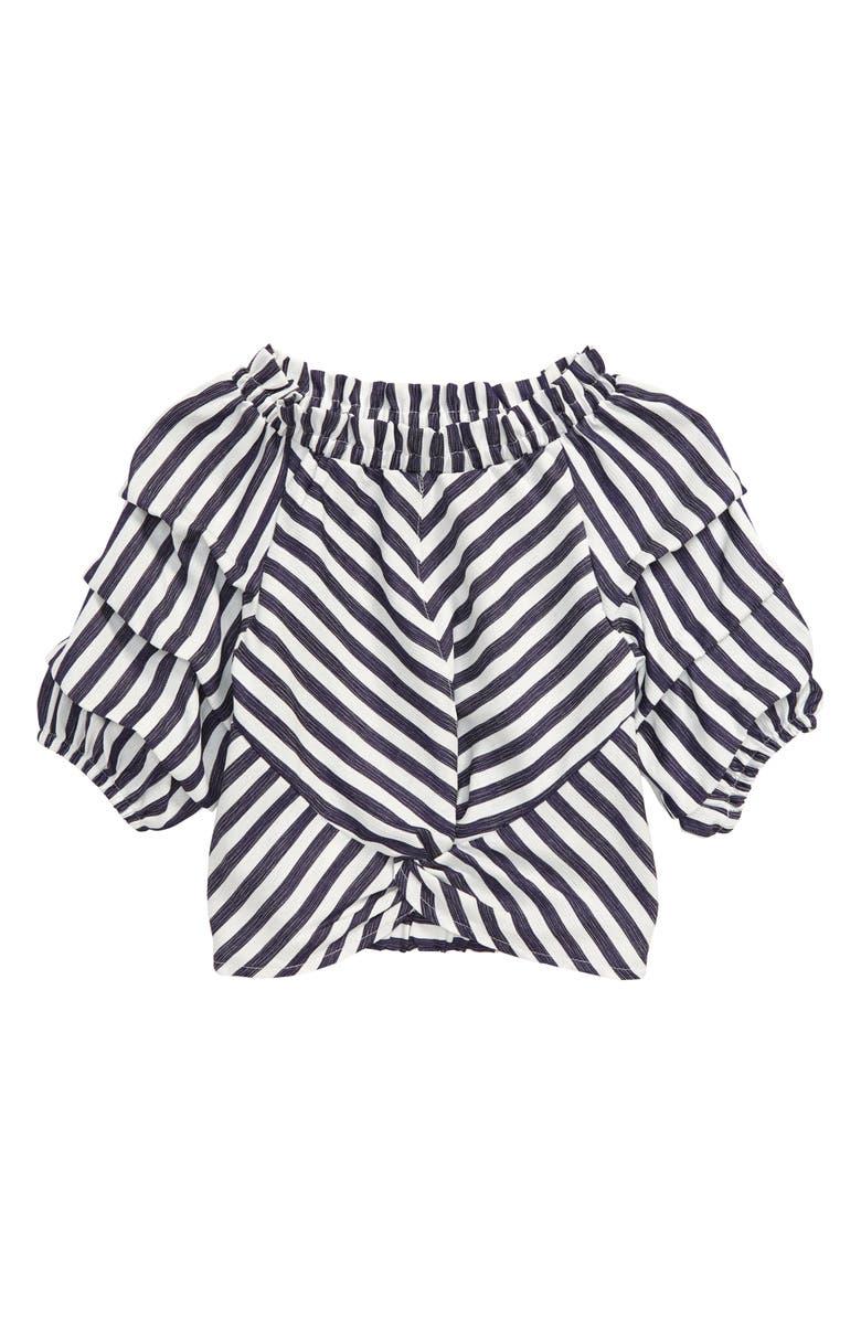 HABITUAL GIRL Habitual Ruched Sleeve Stripe Top, Main, color, 401